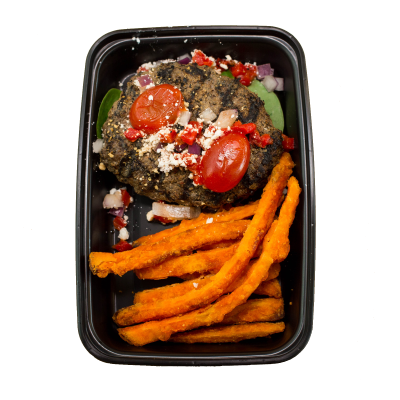 Mediterranean Bison Burger4 oz. grilled bison burger on a bed of spinach topped with red onions, crumbled feta, red peppers, and grape tomatoes. Finished with balsamic glaze and served with sweet potato fries.$10.49 GF / CC - 343 Calories | 36 g Protein | 18 g Carbs | 12 g Fat
