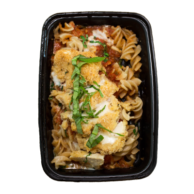 Chicken ParmesanBreaded gluten free baked chicken with a house made marinara sauce, topped with parmesan cheese on a bed of gluten free rotini.$7.79 M, $ 8.99 L GF - M 505 Calories | 26 g Protein | 50 g Carbs | 22 g FatL 722 Calories | 41 g Protein | 72 g Carbs | 29 g Fat