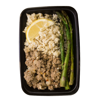 Lemon Pepper TurkeyGround turkey with lemon and red pepper flakes on a bed of brown jasmine rice served with asparagus.$6.49 M, $8.49 L GF / DF - M 340 Calories | 22 g Protein | 47 g Carbs | 6 g FatL 496 Calories | 35 g Protein | 63 g Carbs | 10 g Fat