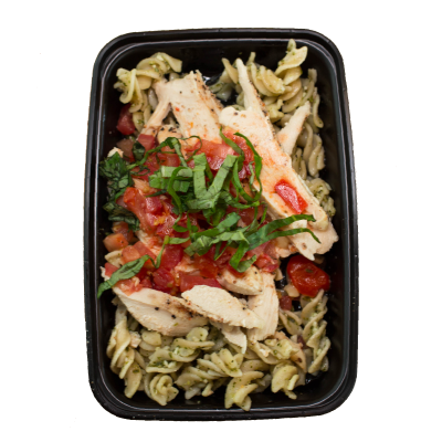 Chicken Pesto PastaGluten free pasta in a pesto sauce with chicken and grape tomatoes sprinkled with parmesan cheese.$7.99 M, $9.99 L GF - M 460 Calories | 36 g Protein | 39 g Carbs | 17 g FatL 653 Calories | 56 g Protein | 52 g Carbs | 24 g Fat