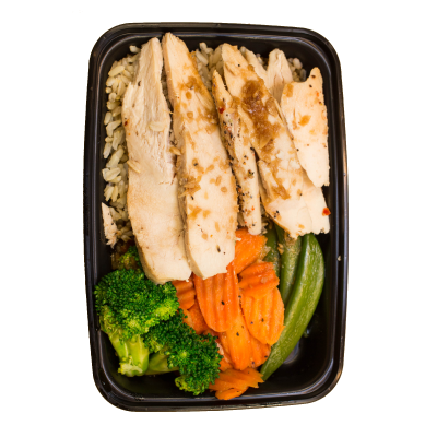 Teriyaki Glazed ChickenTeriyaki glazed chicken breast over jasmine rice with snap peas, carrots, broccoli, and pineapple.$6.99 M, $8.99 L DF - M 348 Calories | 25 g Protein | 49 g Carbs | 5 g FatL 499 Calories | 38 g Protein | 64 g Carbs | 8 g Fat