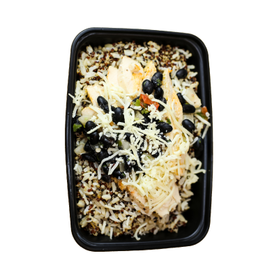 Fiesta Chicken BowlCilantro lime rice/quinoa mix with chili lime chicken, spicy black bean relish, cotija cheese, and house salsa on the side.$8.99 GF - 484 Calories | 38 g Protein | 64 g Carbs | 6 g Fat