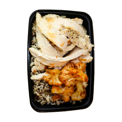 Power Protein BowlA protein packed brown jasmine rice/quinoa mix with sliced chicken breast, oven roasted cauliflower, and sun dried tomato chutney on the side.$9.99 GF / DF - 453 Calories | 50 g Protein | 48 g Carbs | 8 g Fat