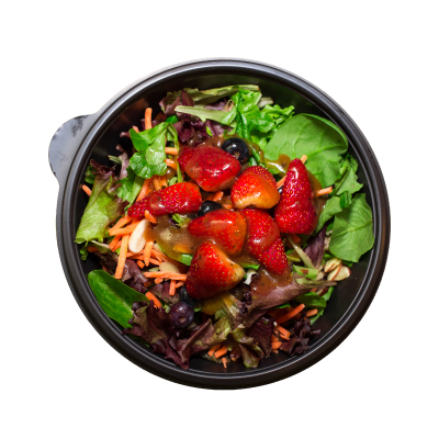 Fit SaladStrawberries, blueberries, almonds, and carrots on a bed of romaine, spinach, and spring mix with your choice of dressing.$5.99 GF/DF/SC/V - 145 Calories | 6 g Protein | 20 g Carbs | 7 g Fat