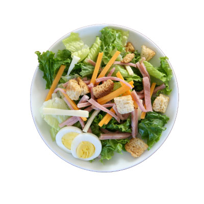 Chef SaladGrilled chicken, ham, tomatoes, cucumber, hard boiled egg, cheddar cheese, and croutons on a bed of romaine, spinach, and spring mix with your choice of dressing.$8.79 - 322 Calories | 30 g Protein | 10 g Carbs | 13 g Fat
