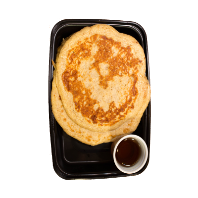 Protein PancakesLow-fat, protein packed, gluten free pancakes served with a side of agave syrup.$5.49 M, $7.99 L GF / V  - M 356 Calories | 20 g Protein | 54 g Carbs | 8 g FatL 514 Calories | 33 g Protein | 69 g Carbs | 13 g Fat