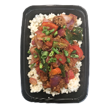 Southwestern Beef Bowl   - Cauliflower rice, topped with lean ground beef stewed in poblano peppers, red bell peppers, onions, asparagus and tomatoes. Finished with southwestern spices and picked red onions. GF, DF, CC One Size $9.99