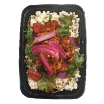 Adobo Chicken - Cauliflower rice topped with stewed peppers, onions, tomatoes, asparagus and kale. Shredded chicken breast tossed in house made adobo sauce and finished with pickled onions. GF, DF, CCOne Size $8.49