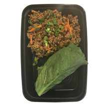 Asian Turkey Lettuce Wraps - Lean ground turkey sauteed with carrots, onions and water chestnuts. Finished with gluten free amino soy sauce and served with leaf lettuce wraps. Enjoy hot or cold. GF, DF, CC One Size $5.49