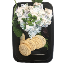 Chicken Salad  - Baked chicken supreme tossed in healthy greek yogurt with celery, green onions, apples, walnuts and dried cranberries. Served on a bed of spring mix and a side of almond crisp crackers.  One Size $6.59