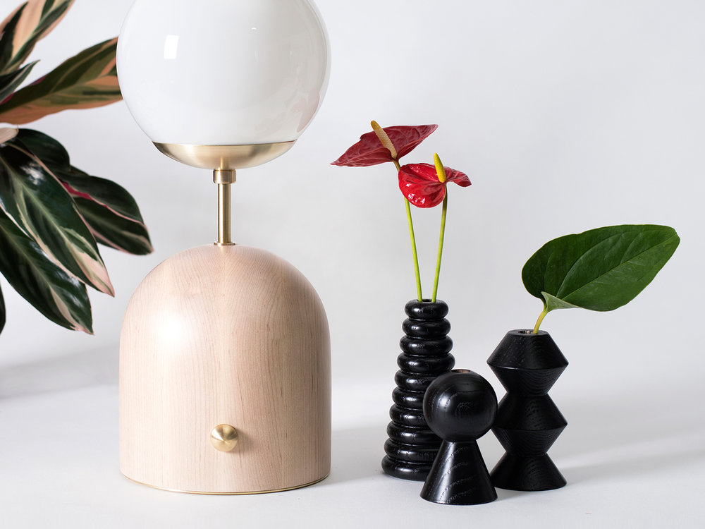 Domos Lamp and Bud Vases by Cofield