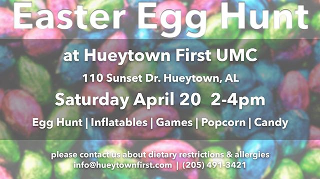 One of our favorite events each year is right around the corner - our community Egg Hunt.  Come join us  for lots of fun, candy, bounce houses, and snacks!  Everyone's welcome for this free event so bring some friends! 🐰🍬 #easter2019 #easter #hueytown #thrivehueytown