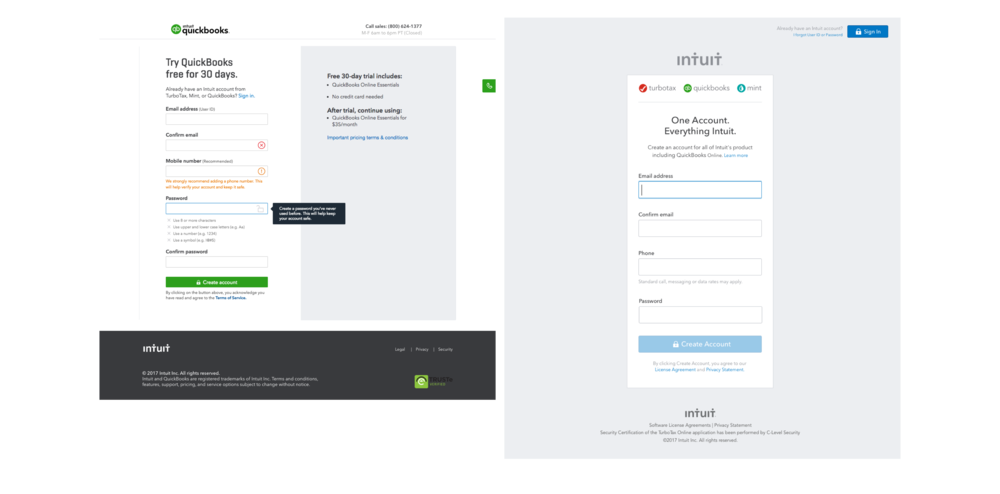 Understand the requirements - As part of the project we wanted to launch a test with both the QuickBooks and Intuit ecosystem experiences and so I needed to understand the requirements for both experiences
