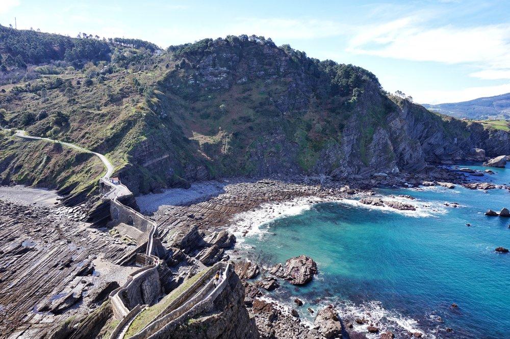 San Juan de Gaztelugatxe's meandering rock stairway, where some scenes of the Game of Thrones Season 7 were filmed