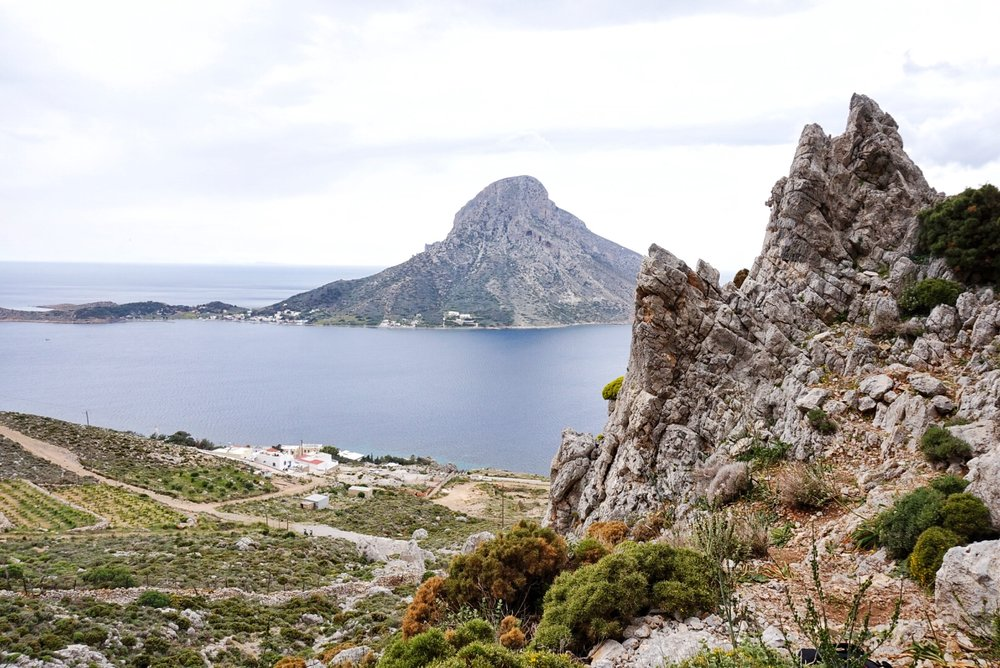 A view of Telendos Island from the Poets climbing sector