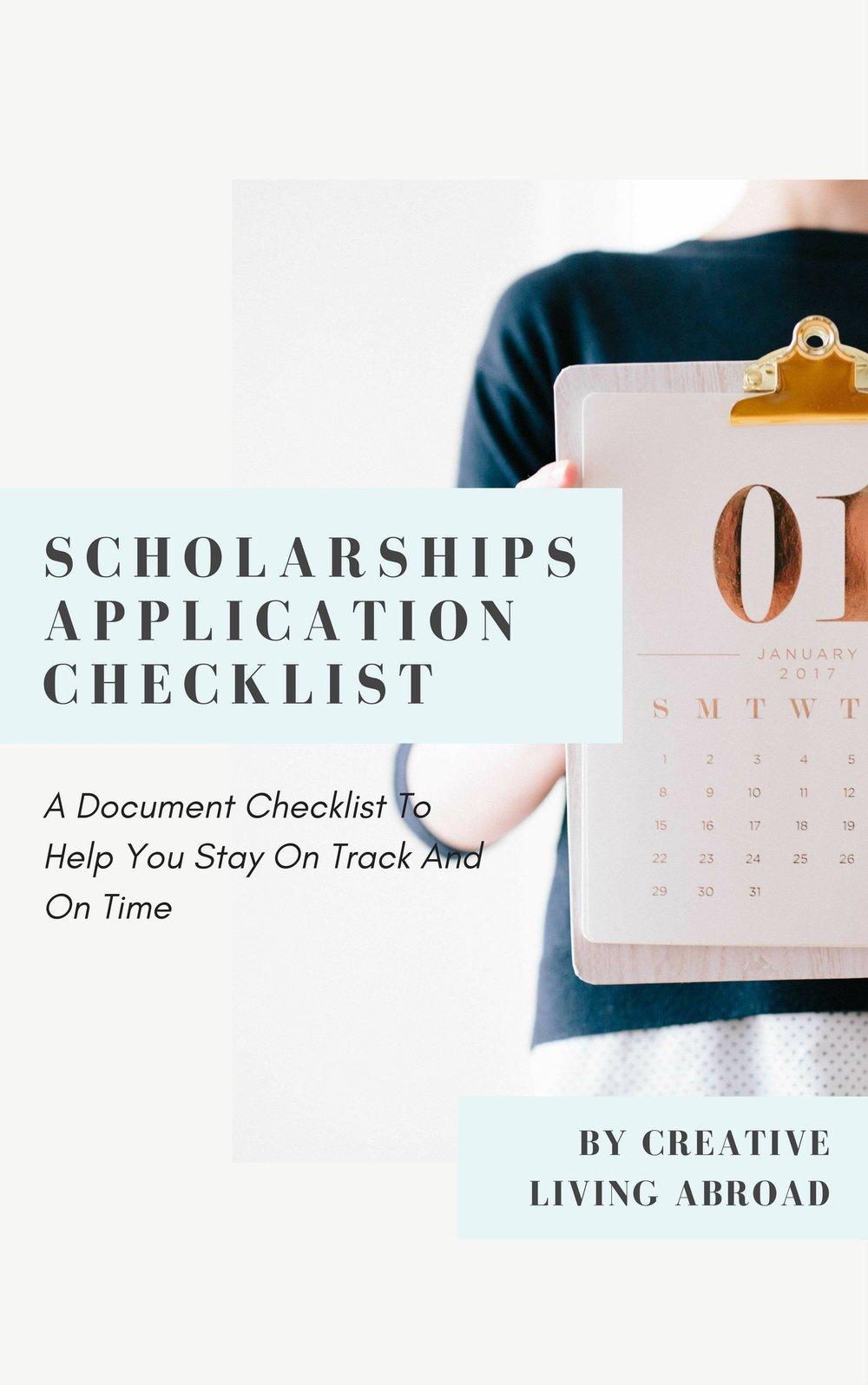 free scholarships application checklist