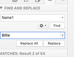 in the bottom box add the word you would like to replace with and click 'Replace All'.