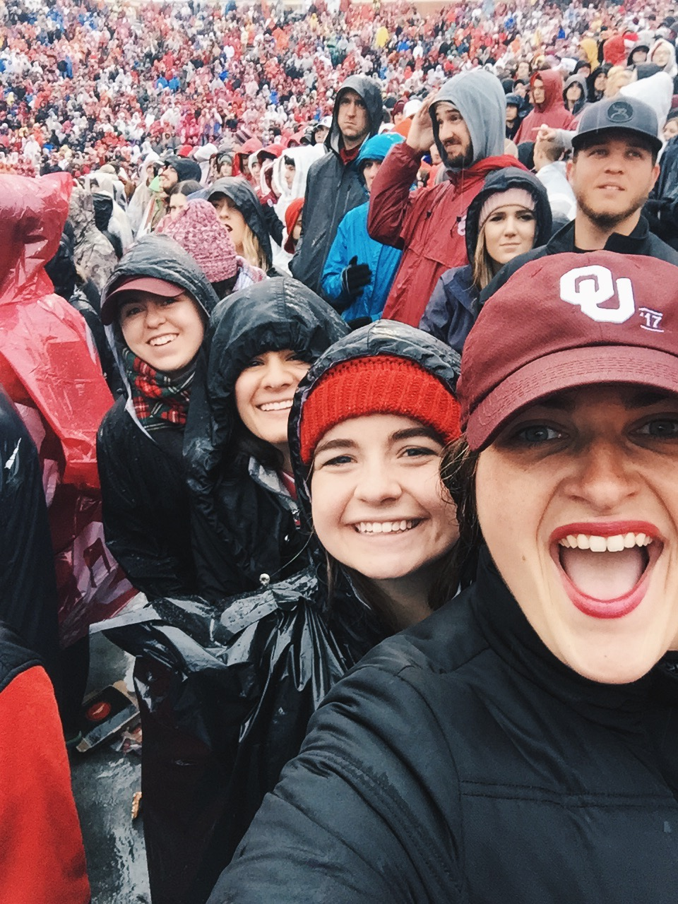 Go to your last home game as an undergrad, in the freezing cold rain, and thunder and lightening, and don't leave until you get on the jumbotron   December 2016