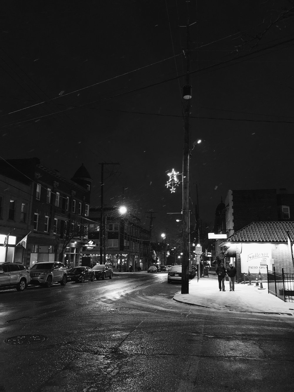Night time snow falls