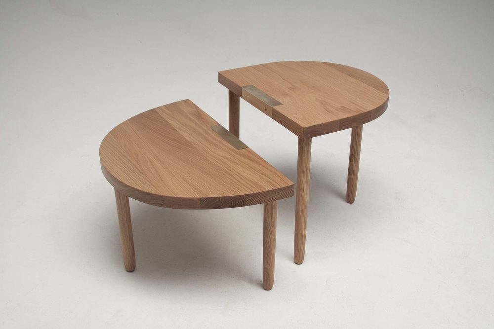 "low side tables. white oak, brass. 22"" x 13"" x 12"", 17"" x 15"" x 16"" 2018"