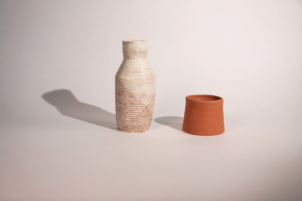 """coil pots. clay, 12"""" x 4"""", 5"""" x 5"""", 2015"""