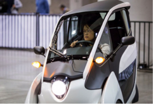 The Toyota i-Road has tilting technology to increase stability caused by the high height relative to the narrow base.