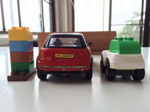 Figure 5. Rear view of the Apple Car model compared to a model Mini Cooper