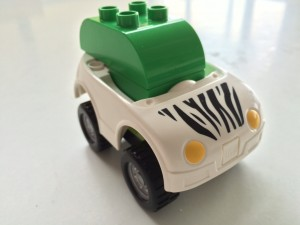The roughly-to-scale Apple Car model we used.  Assembled from my 4 year old's Duplo.