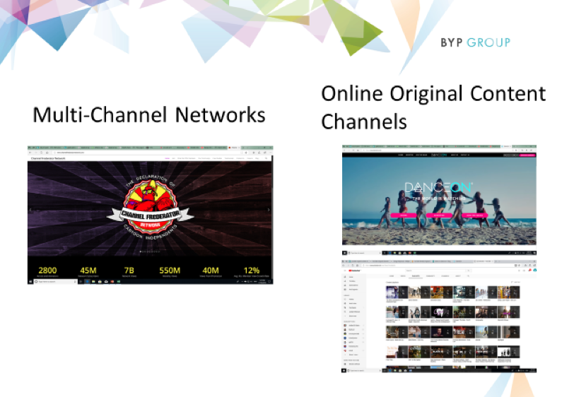 Two business models have emerged to offer scale to YouTubers: Multi-Channel Networks (MCN) and Online Original Content Channels (OOCC)