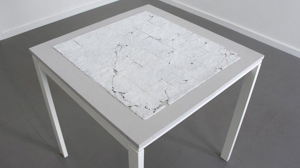 "Forgotten Grid   Acrylic medium and gesso on plywood base 33"" x 33"" 2018"