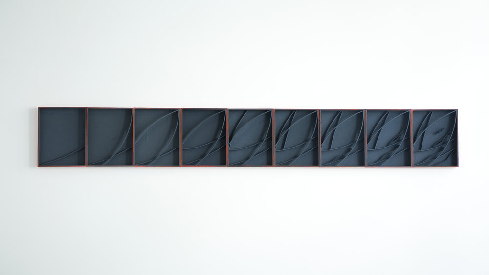 Momentum   Flashe on wood Dimensions variable 2018—ongoing
