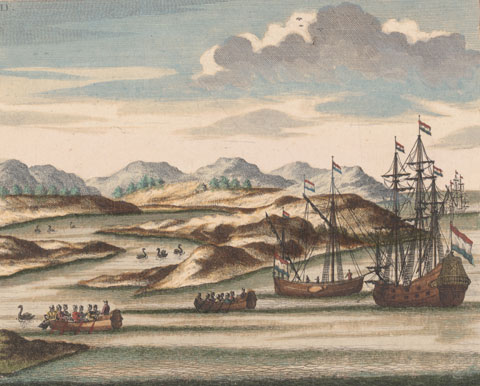 Willem de Vlamingh's ships, with black swans, at the entrance to the Swan River, Western Australia, coloured engraving, derived from an earlier drawing (now lost) from the de Vlamingh expeditions of 1696­97. Johannes van Keulen (1726) Courtesy National Library of Australia