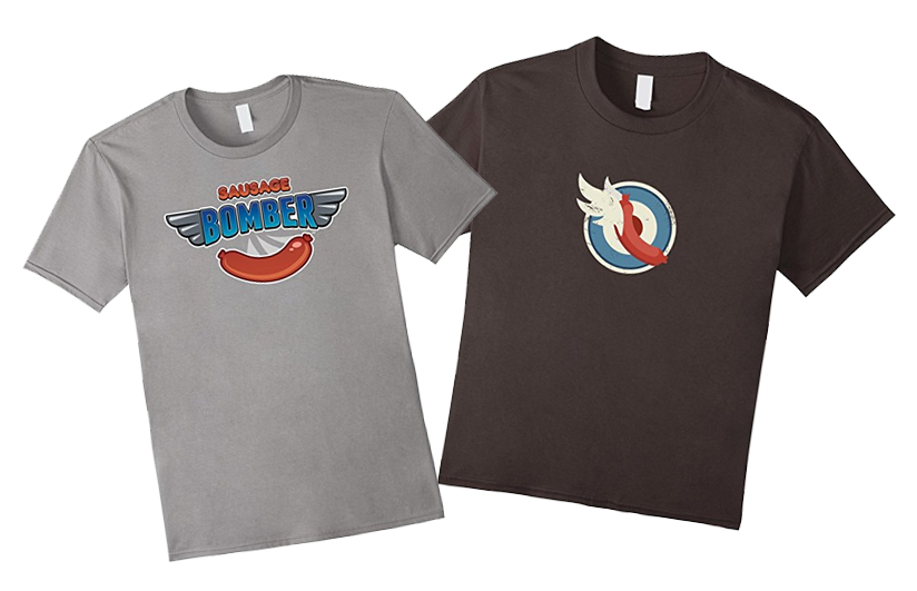 Official Sausage Bomber t-shirts are available on Amazon!