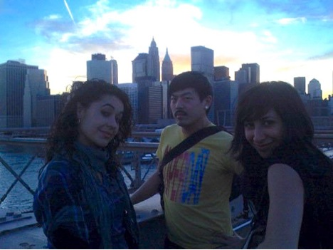 Friends choosing empathy: Williamsburg Bridge, April 17, 2009. Photo by JH Phrydas.]