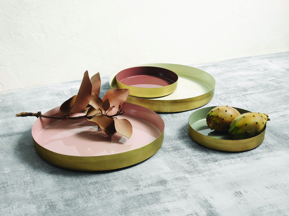 Sheridan Studio Mia Platters in antique brass in a selection of sizes - available soon.