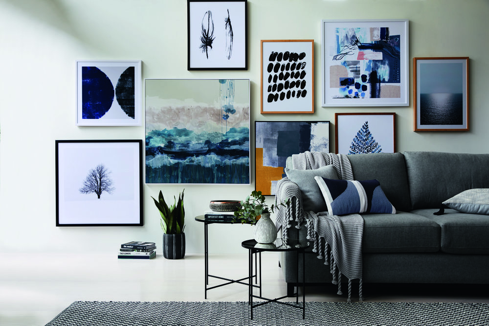 The new Studio Collection of wall art including abstract pieces and photography.