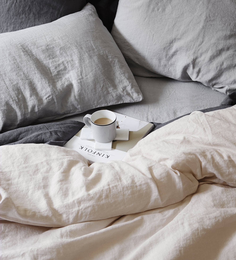 CULTIVER  linen cover sets made from 100% linen woven from European flax and pre-washed for premium softness.