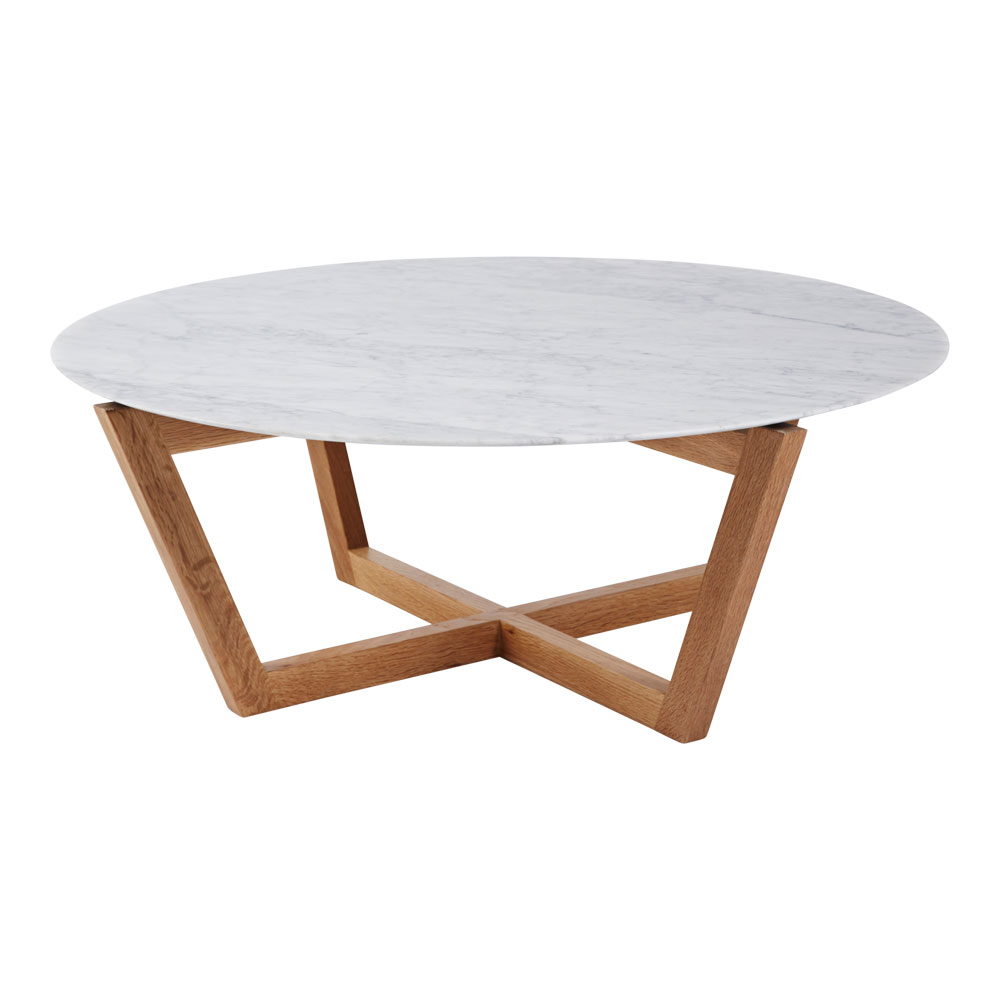 3 |  Marcello Round Italian Marble Coffee Tablein Oak from  Urban Couture .