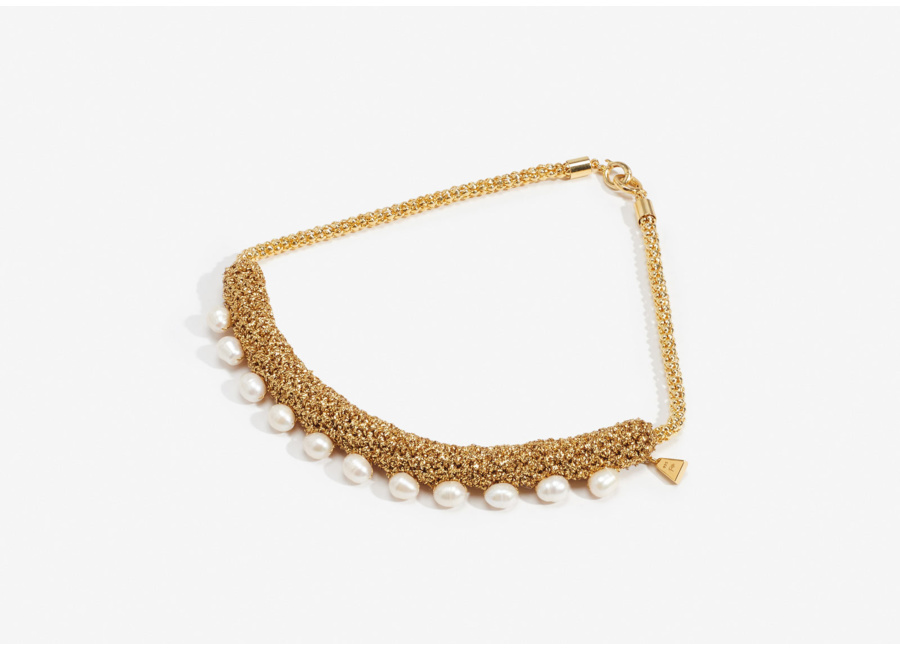Lucy Folk  Pearl Choker  in Gold.