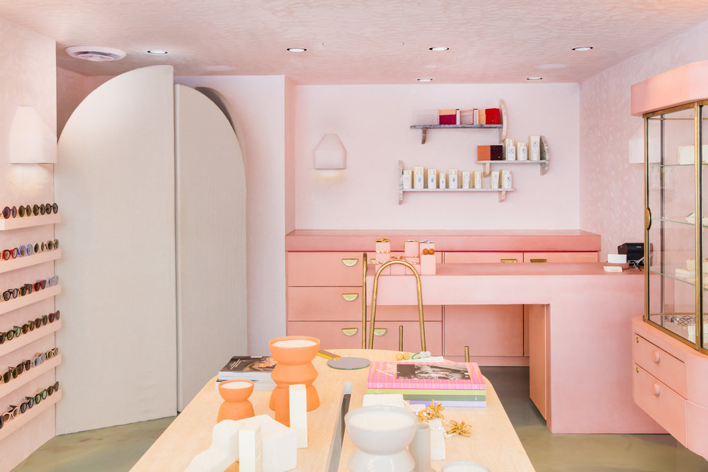 The beautifully unique powder-pink interior of the PLAYA by Lucy Folk Sydney store.