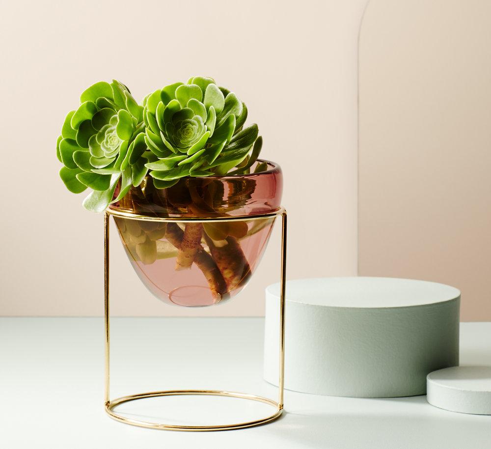 IVY MUSE X Amanda Dziedzic Handblown Glass Nest in Brass/Aubergine.