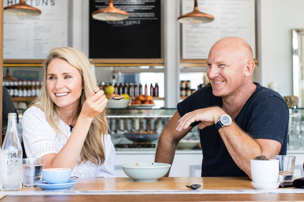 Magdalena Roze and Matt Moran recording  The Pass  podcast.