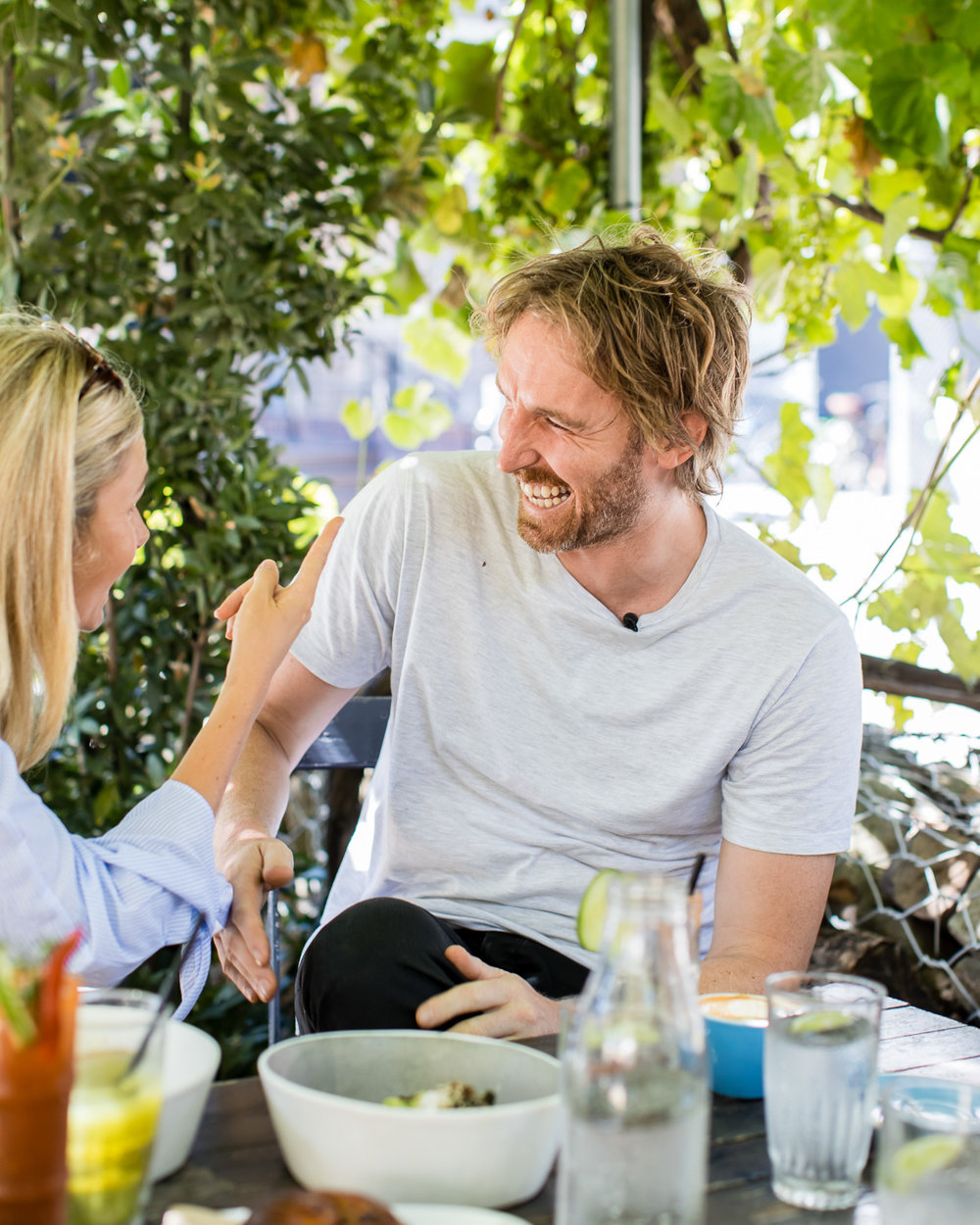 Magdalena Roze interviewing her husband Darren Robertson for The Pass.