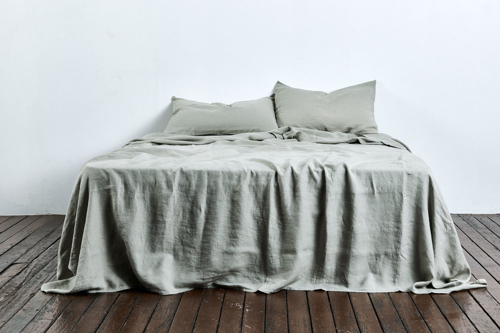 The new stone colour linen bedding from  In Bed .