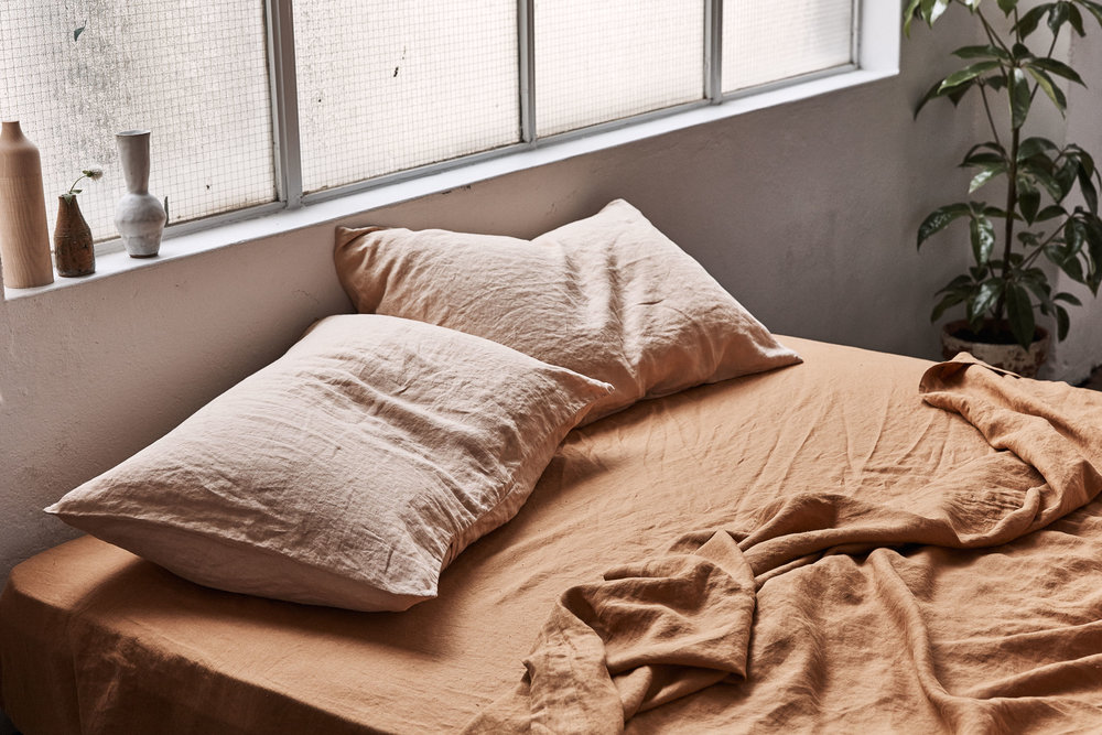 A personal favourite - the new Oat and Clay coloured linen bedding from  In Bed .