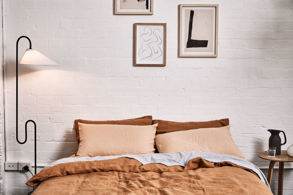 In Bed's  latest linen bedding collection in beautiful Oat and Clay.