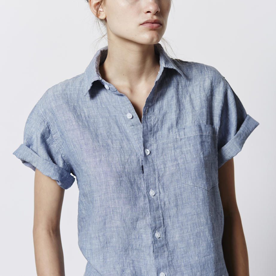 Made from the same linen as their signature bedding, the  Short Sleeve Shirt in Blue .