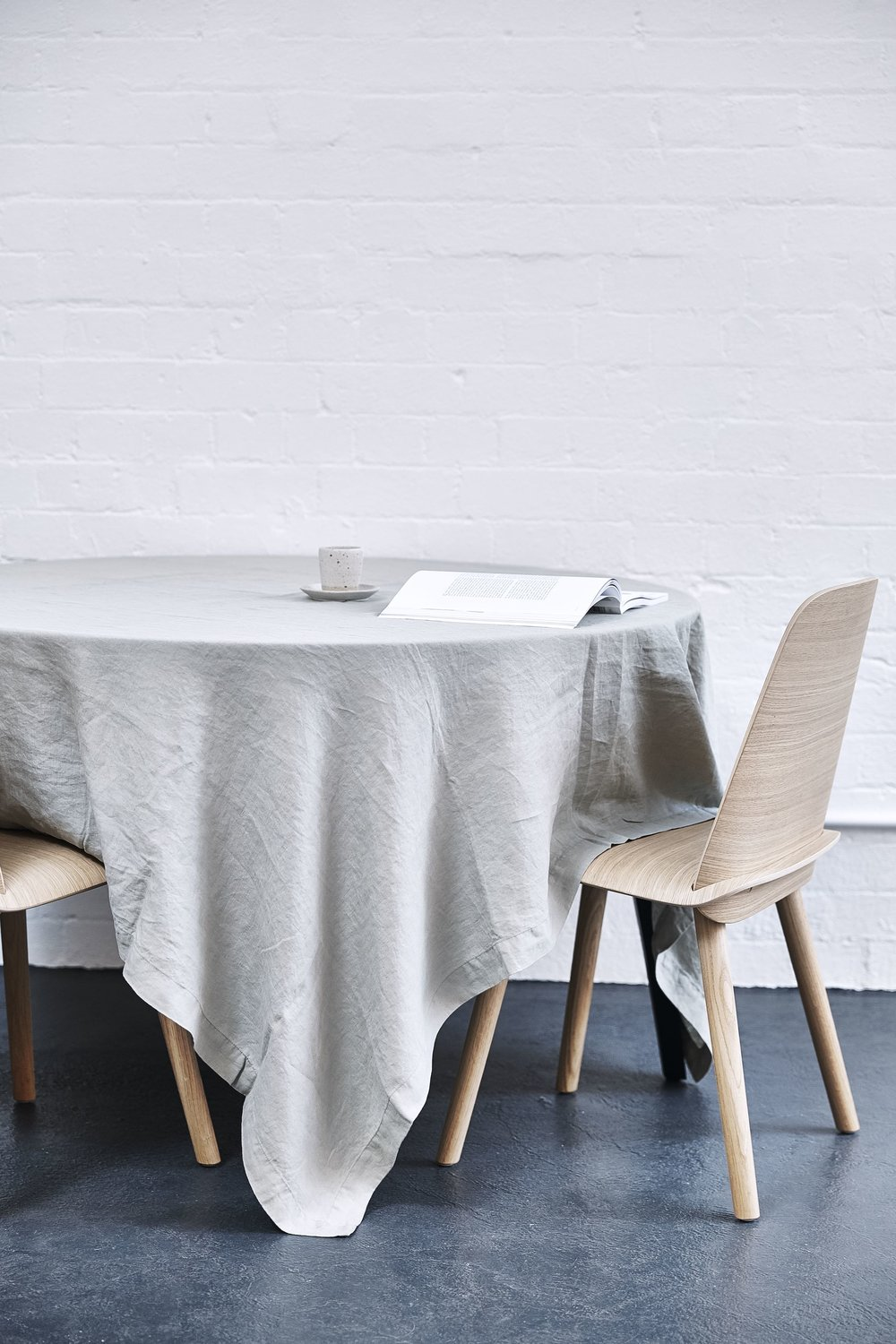 The simply stunning In Bed 100% linen tablecloth in 100% in Stone.