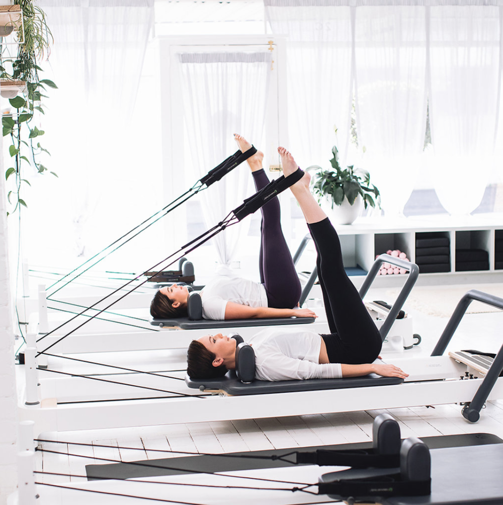 The reformer pilates space at  Happy Melons Studio . Photo - Lululemon Aus.