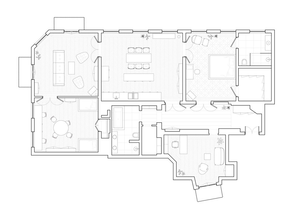 A plan of the luxuriously grand-sized apartment.